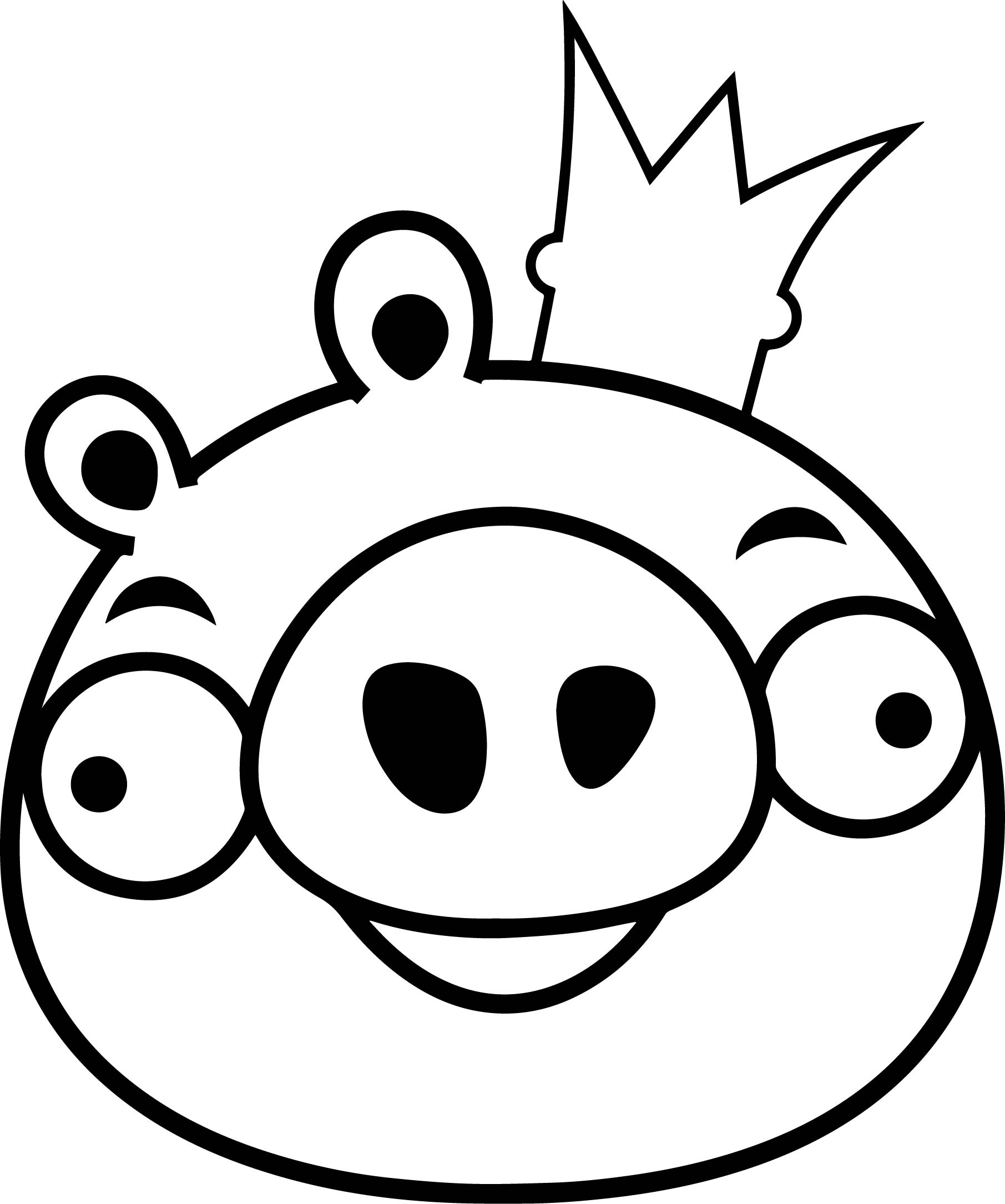 Angry Bird King Pig Coloring Page