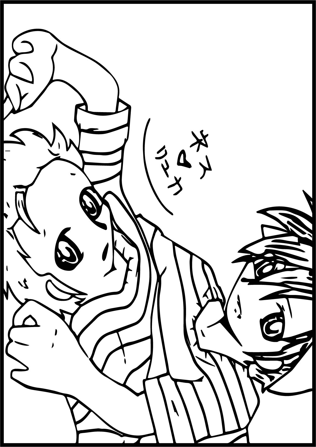Anime Boys Fight Coloring Page
