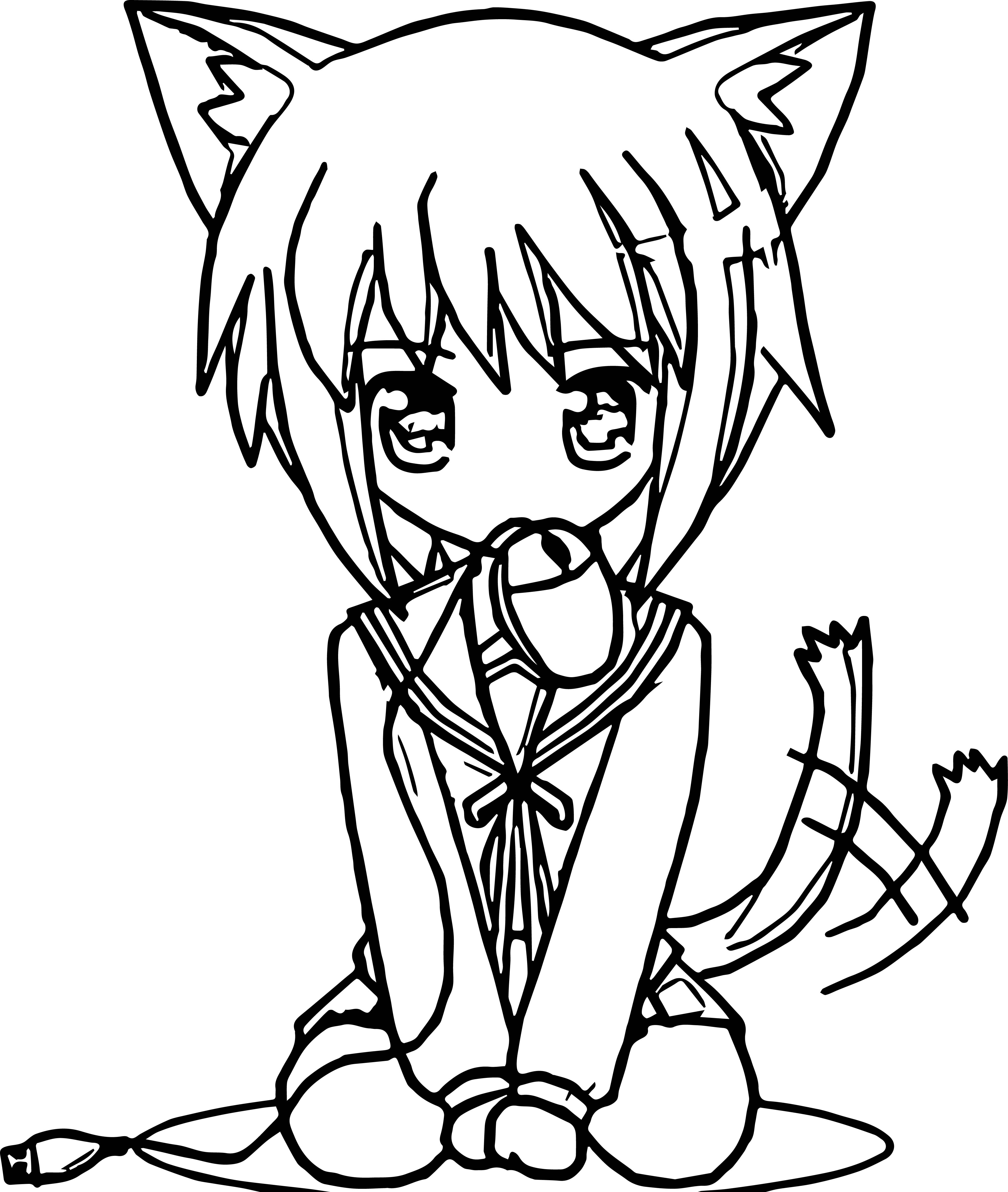 anime girl mouse coloring page