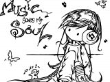 Anime Girl Music Saves My Soul Coloring Page