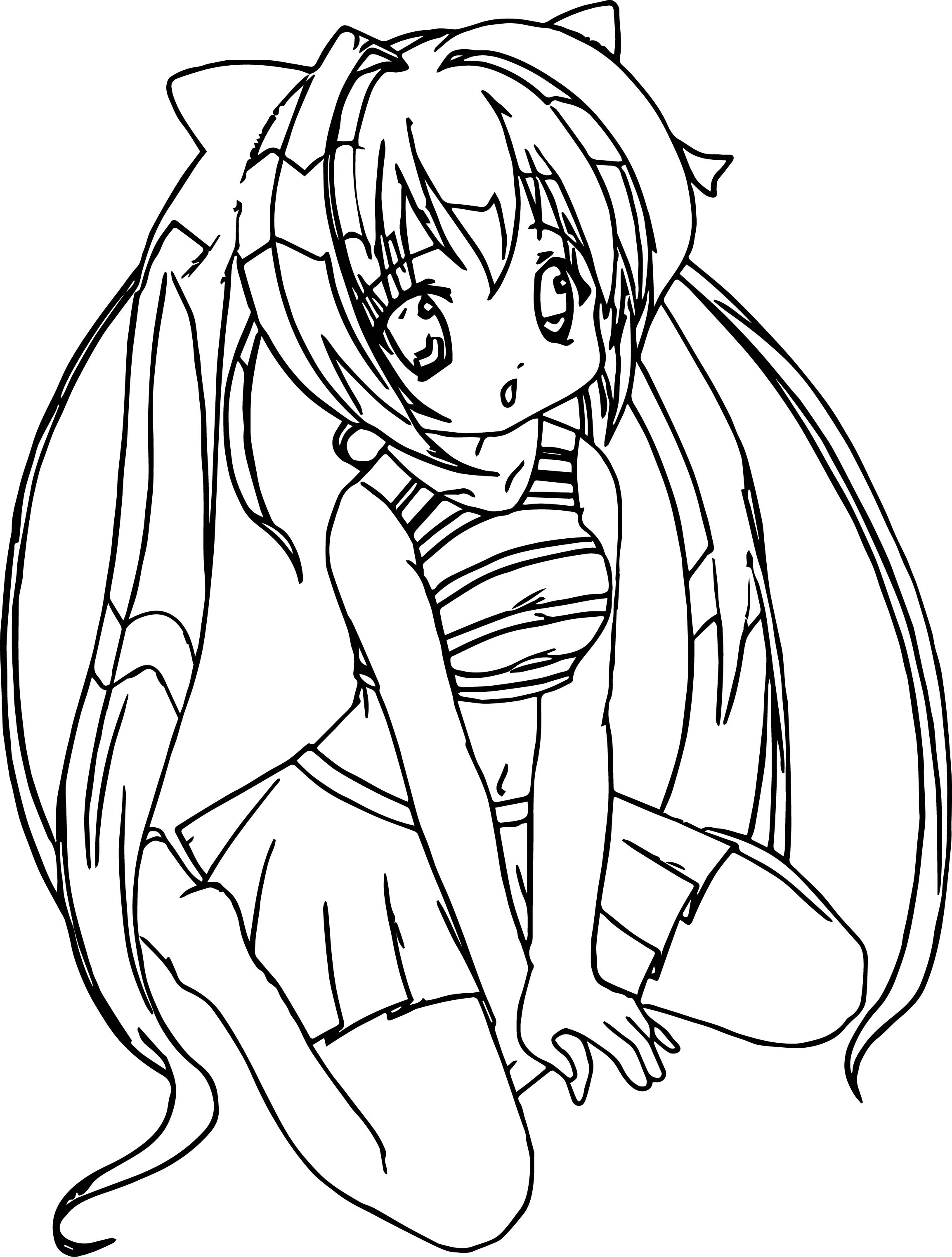 Anime Girl Student Coloring Page
