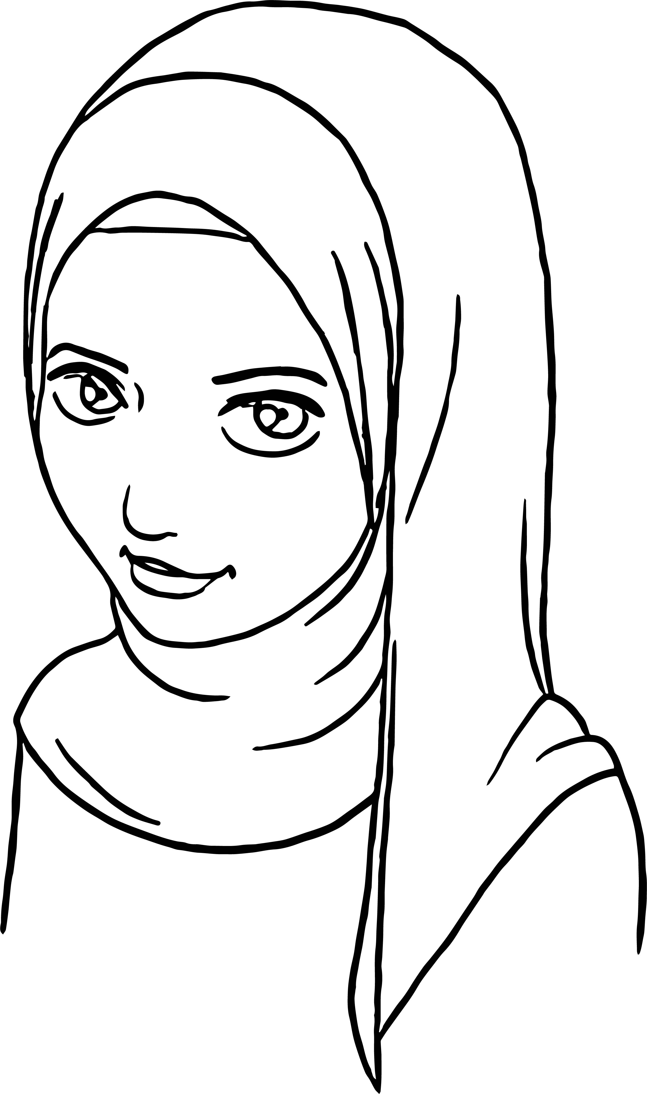 Anime Muslim Girl Coloring Page