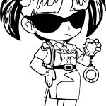 Anime Police Girl Coloring Page