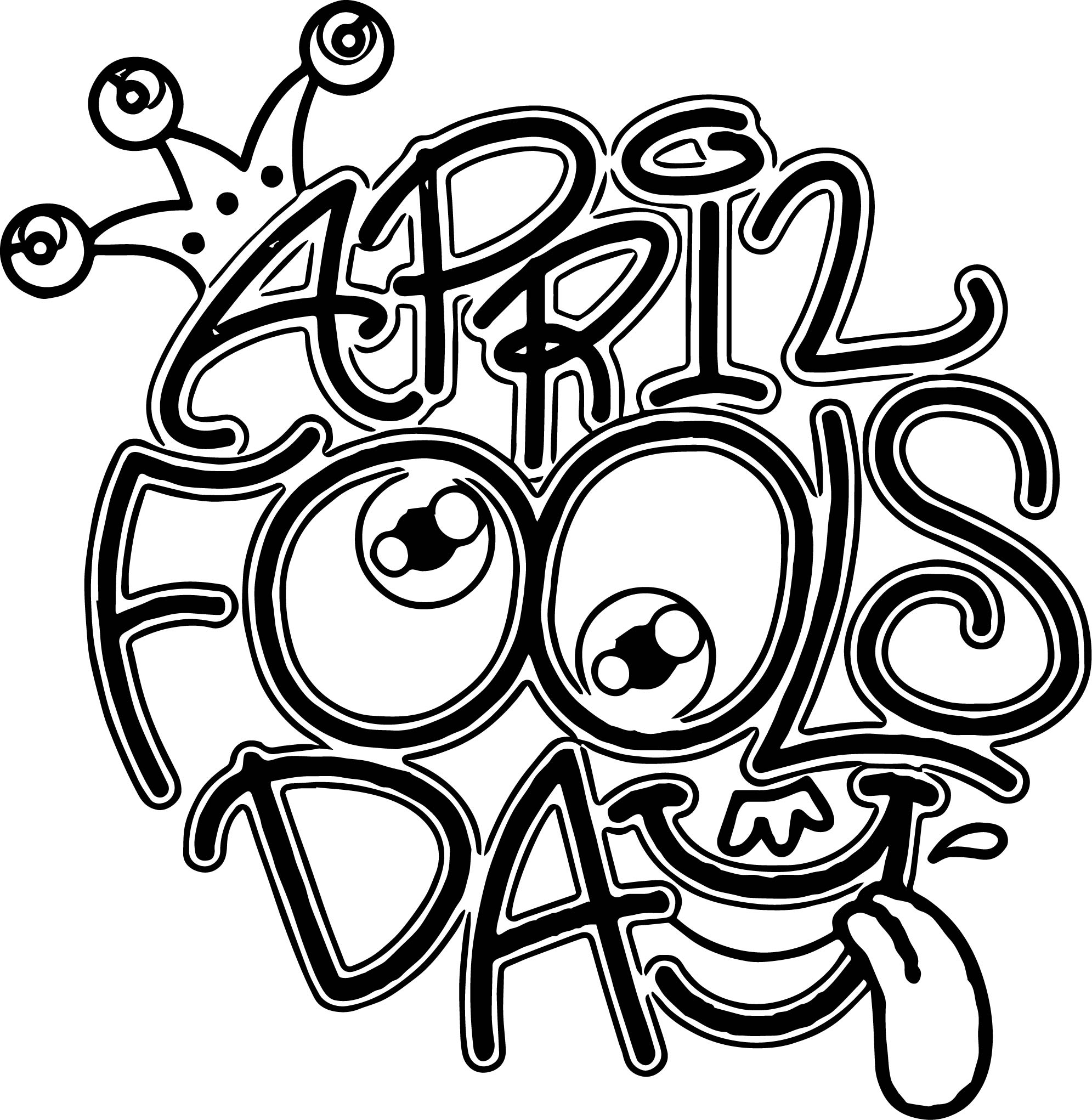 April Fool Comic Smile Face Coloring Page