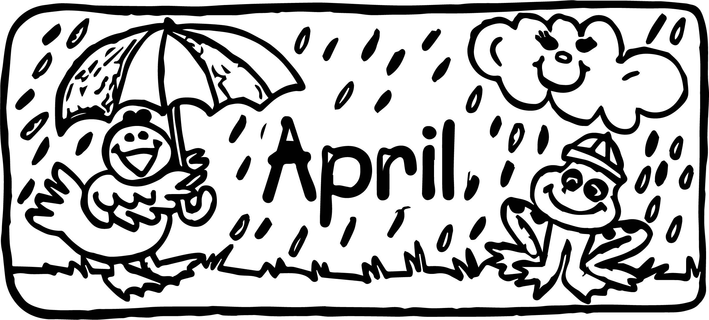 April Kids Borders Coloring Page