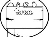 April Shower Circle Border Frame Coloring Page