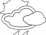 April Shower Cloud Sun Rain Coloring Page