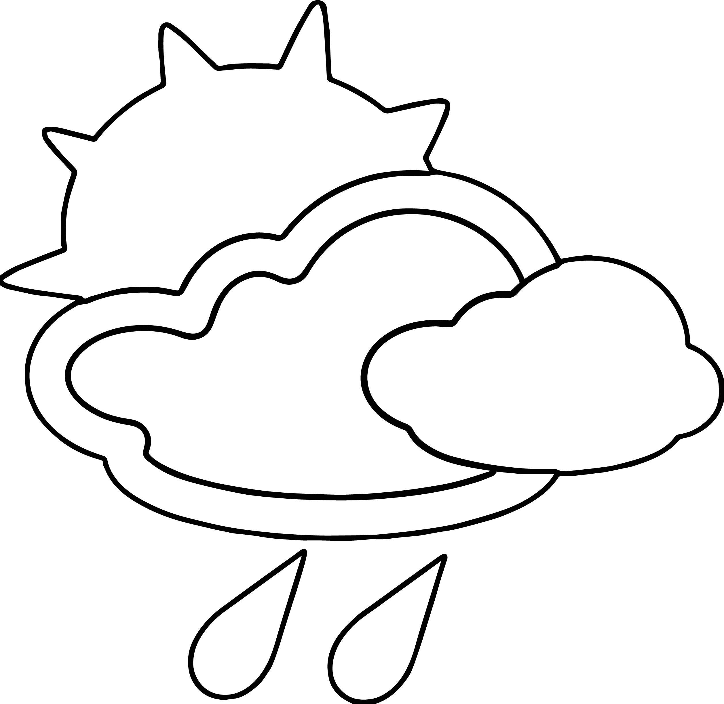 April Shower Cloud Sun Rain Coloring Page Wecoloringpage