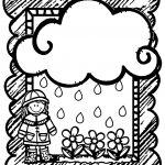 April Shower Girl Flower Cloud Frame Coloring Page