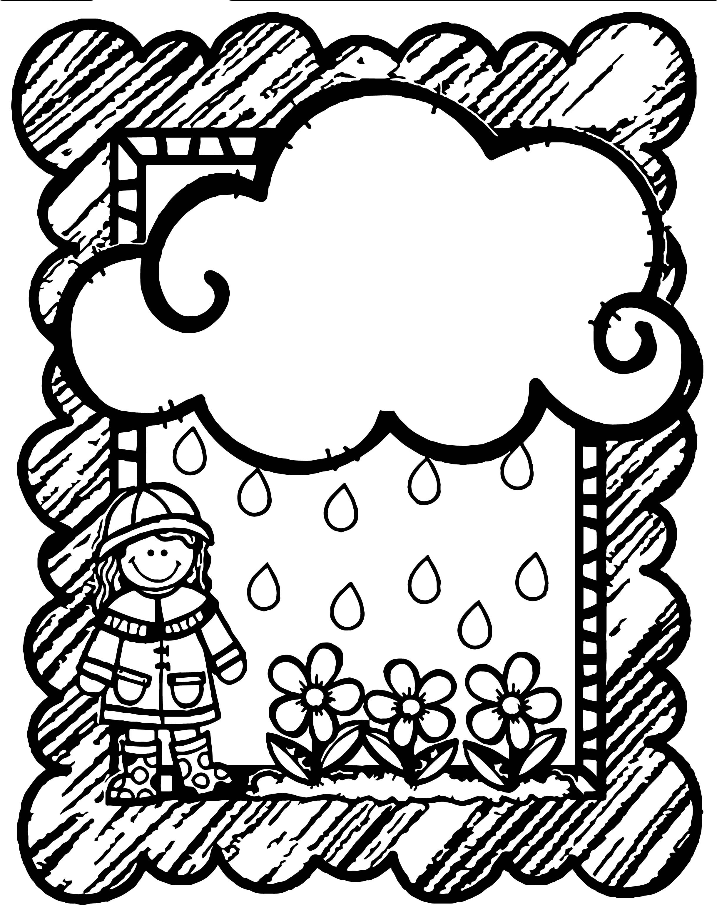 April Shower Girl Flower Cloud Frame Coloring Page