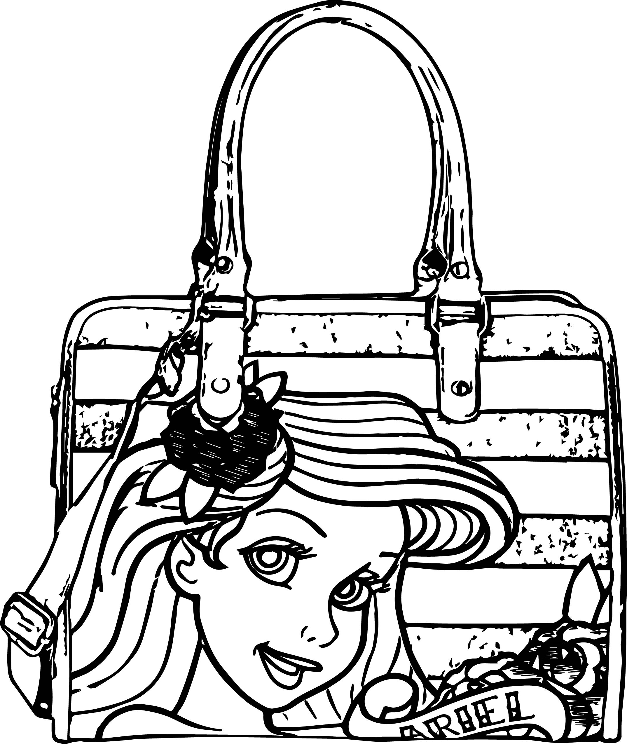 Coloring book bag - Ariel Mermaid Bag Coloring Page