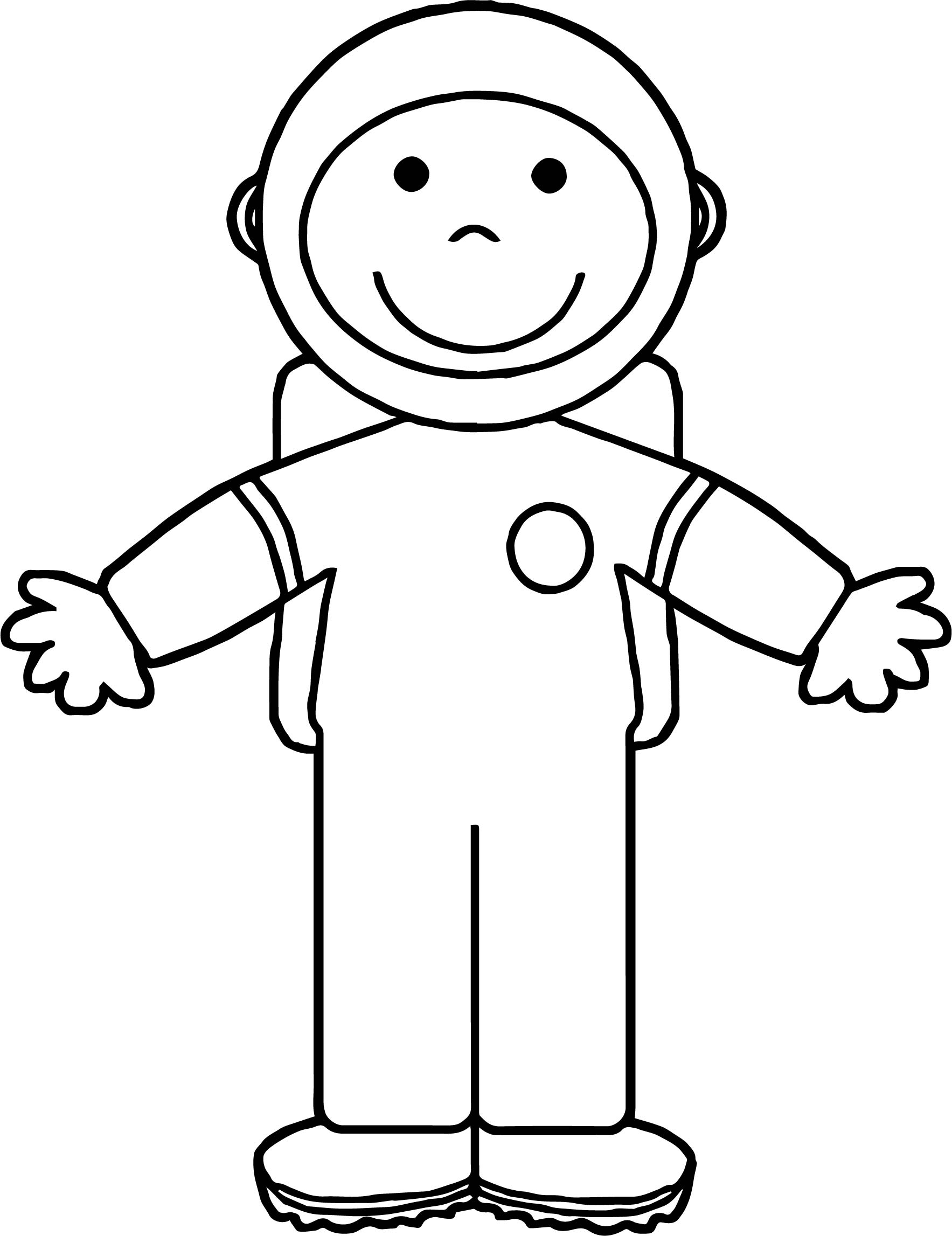 Astronaut Kids Front Coloring Page