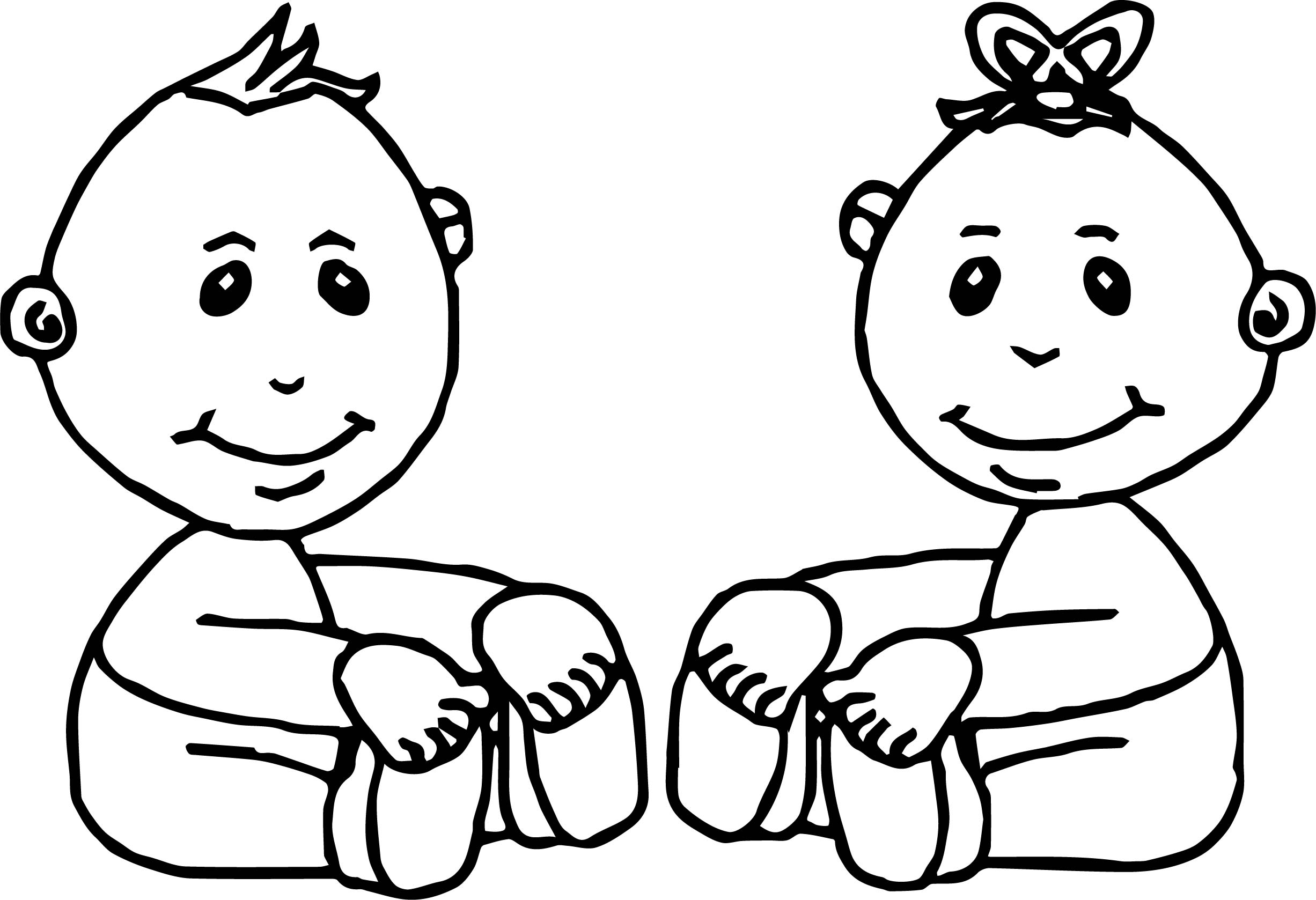 Baby Boy And Girl Coloring Page