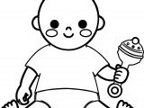 Baby Boy And Toy Coloring Page