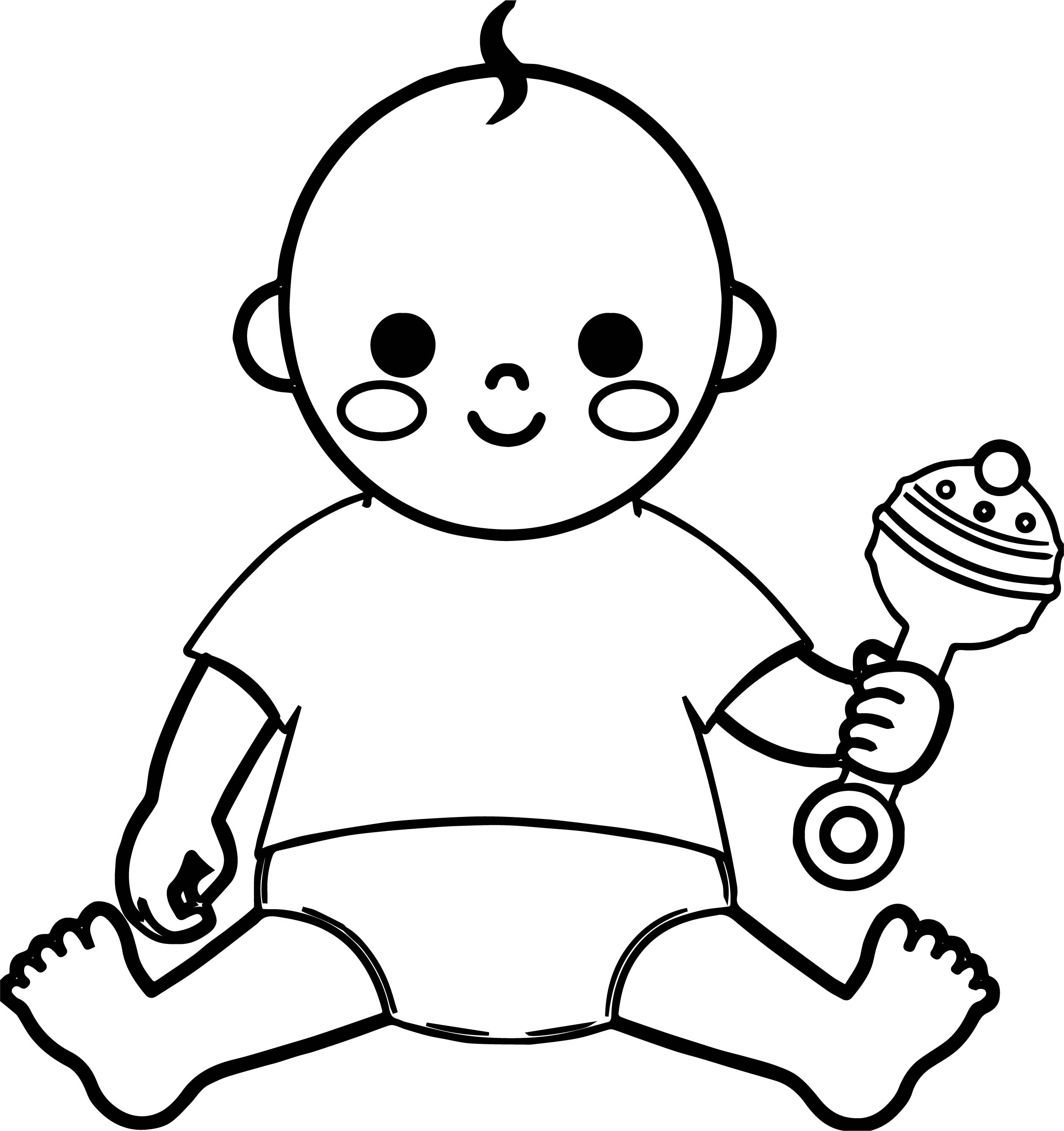 Baby boy and toy coloring page for Baby toys coloring pages