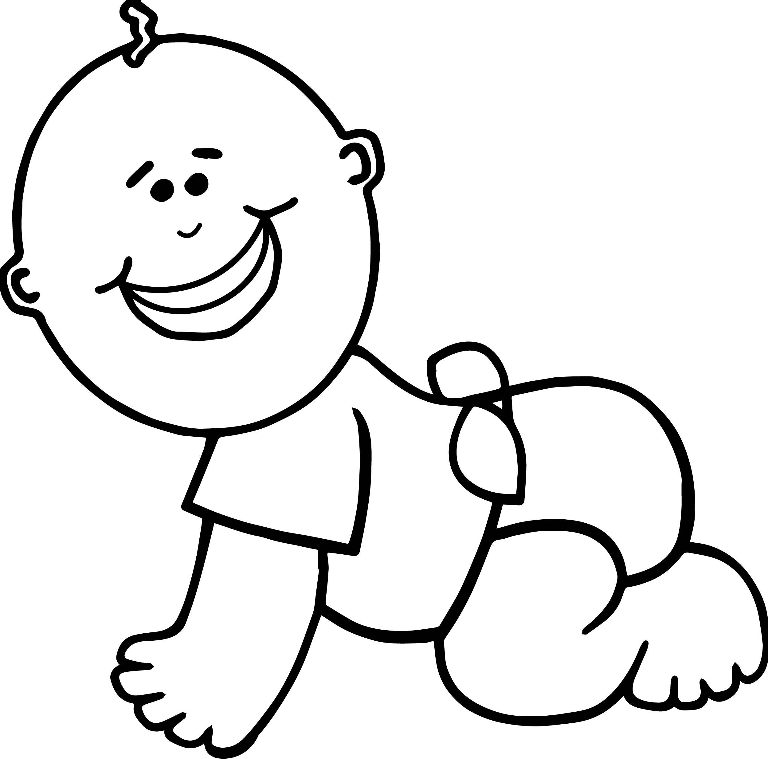 Baby Boy On Floor Coloring Page