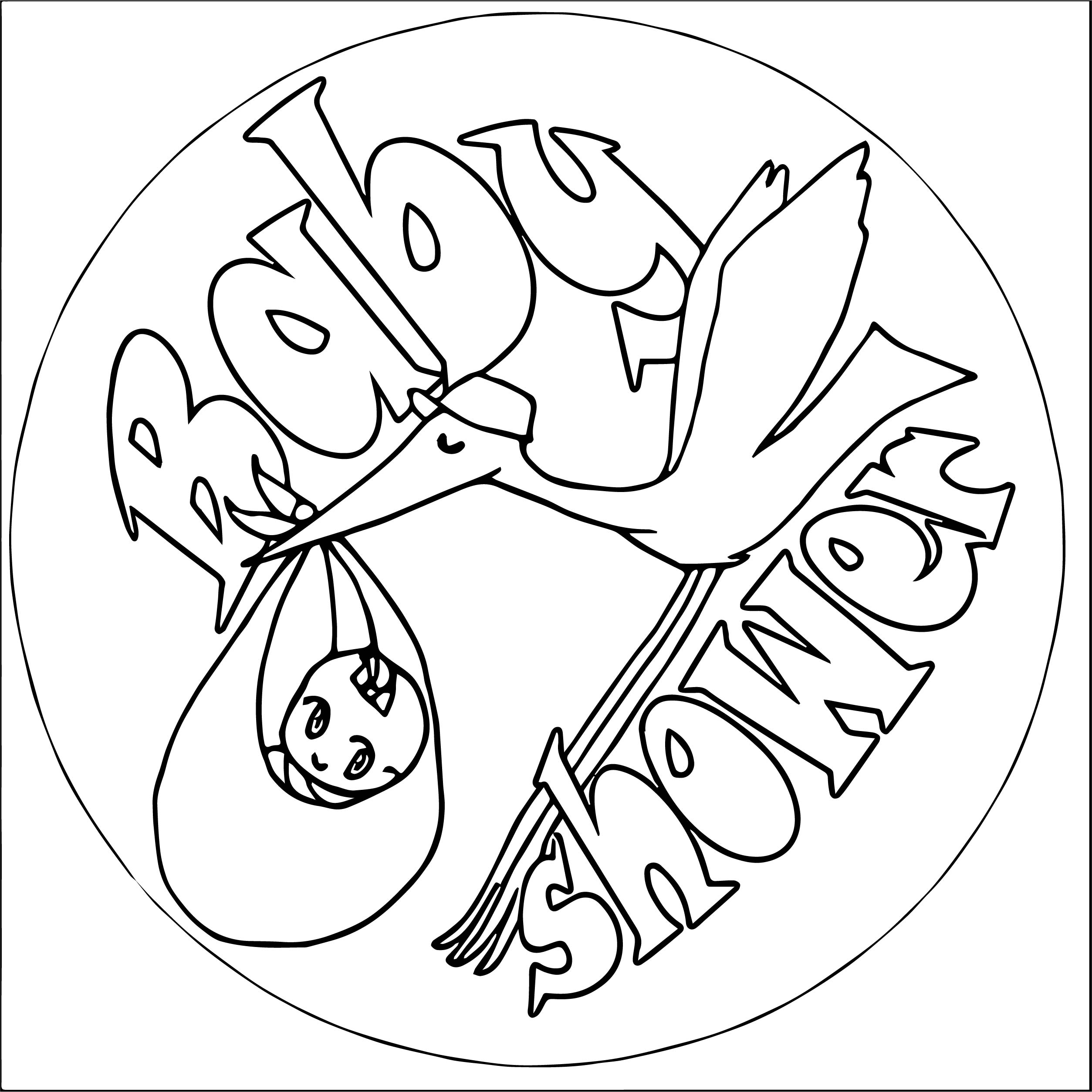 Baby Shower Pictures Bird Transport Coloring Page