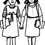 Best Friends Student Girls Coloring Page