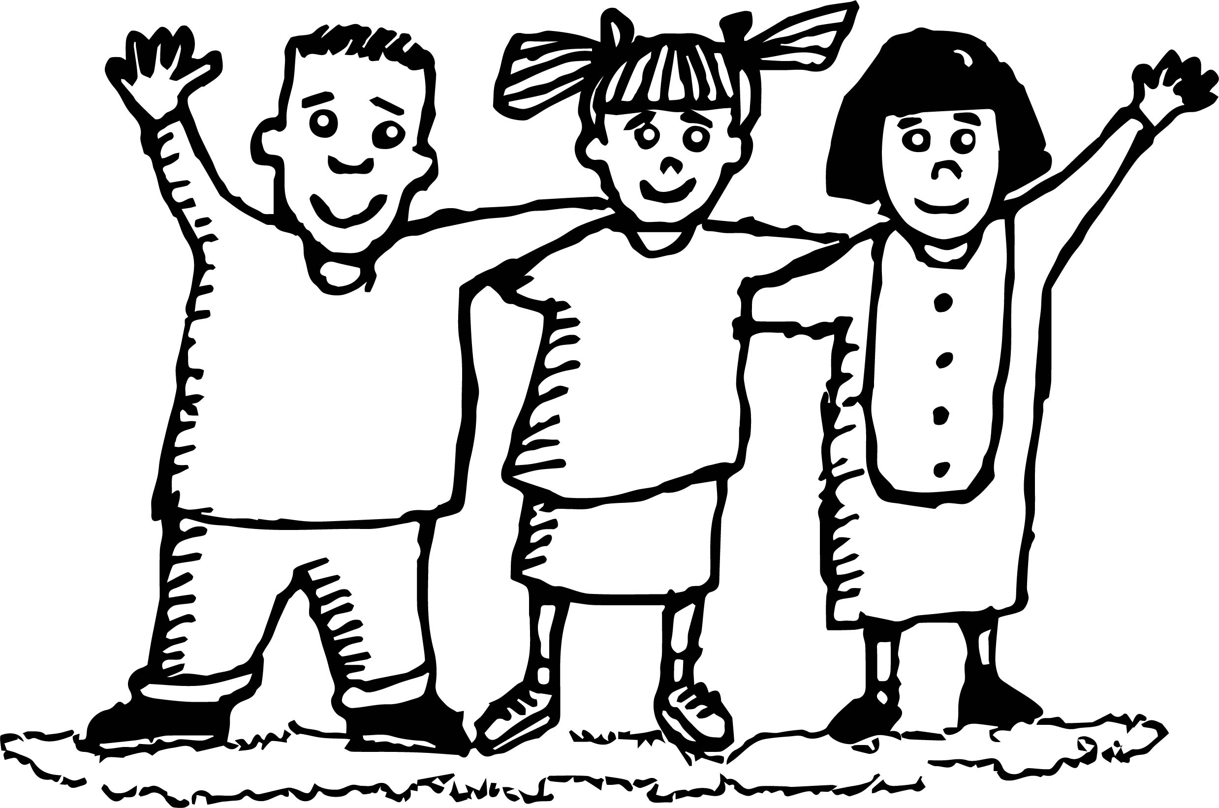 Best Friends Three Hello Coloring Page