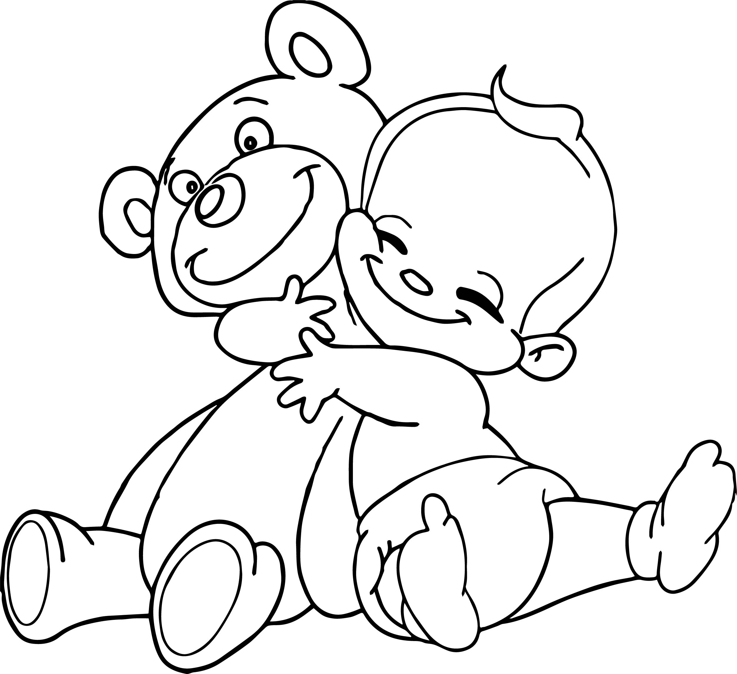blond baby boy hugging a big teddy bear poster print coloring page
