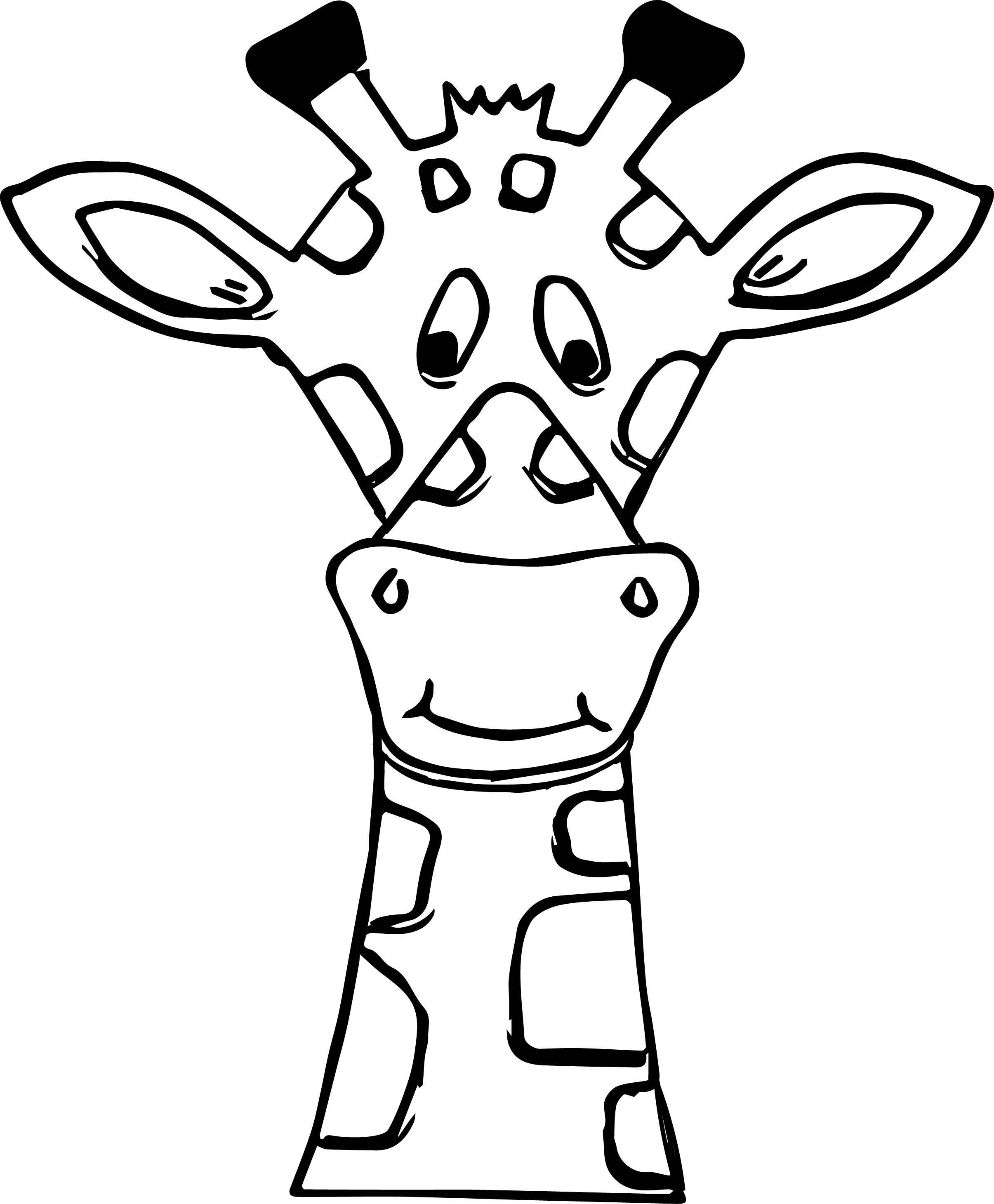 Cartoon Giraffe Face Coloring Page