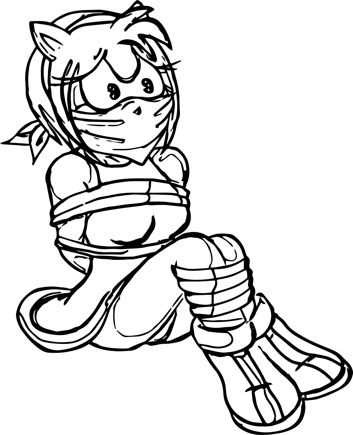 Catched Amy Rose Coloring Page