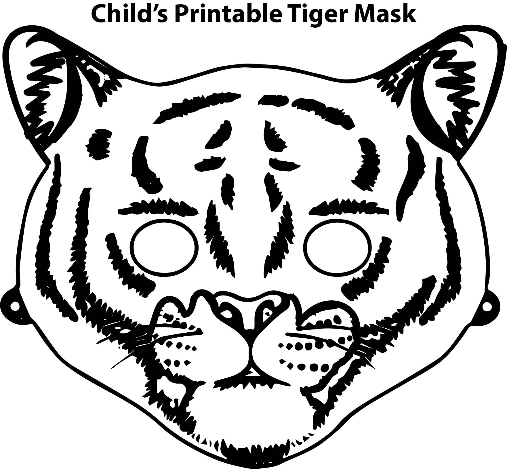 Child s Printable Tiger Mask Coloring