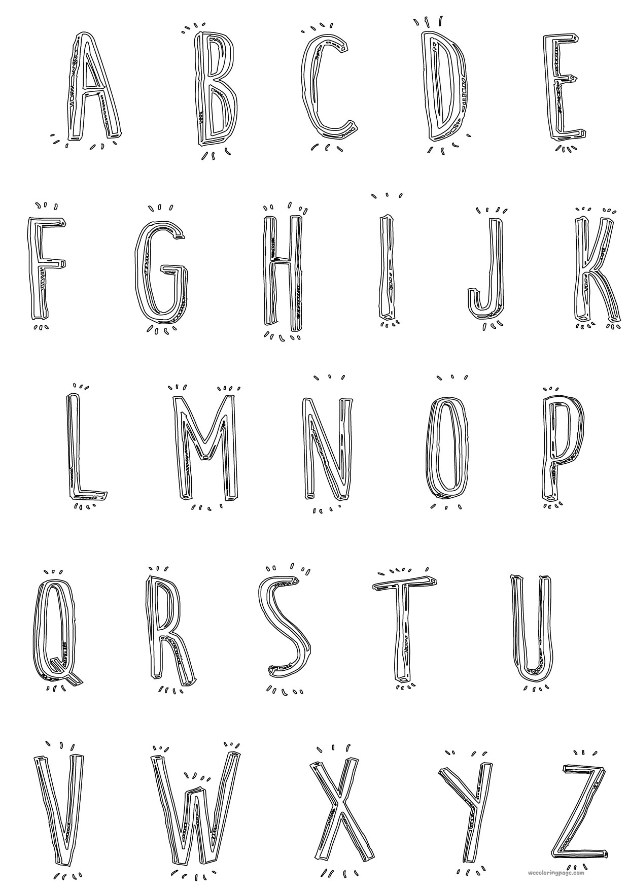 Cartoon Alphabet Coloring Pages : Cute cartoon alphabet coloring page wecoloringpage