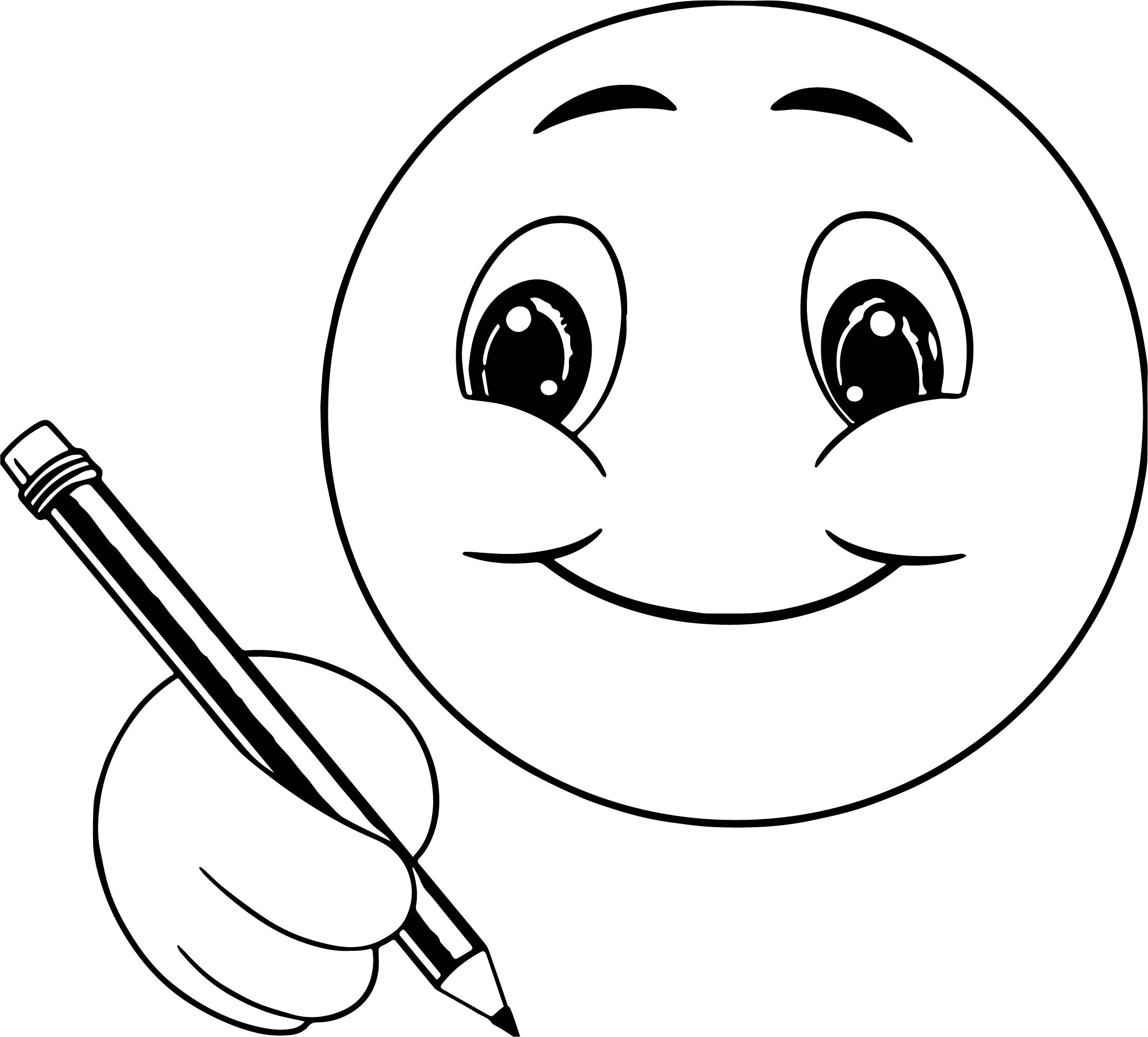 Smiling coloring pages ~ Cute Smile Emoticon Icons Writing Face Coloring Page ...