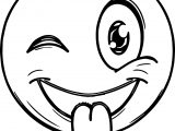 Emoticon Tongue Out Face Coloring Page