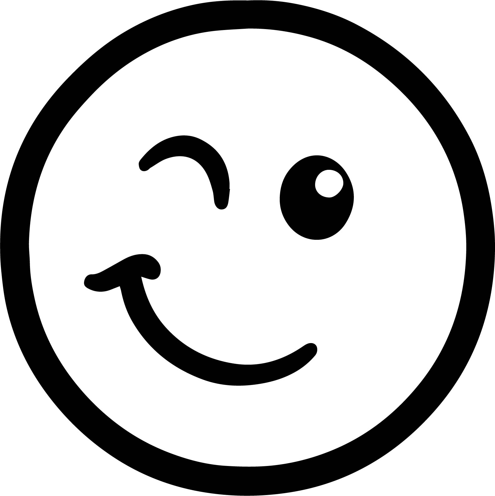 Emoticon Winking Face Coloring Page
