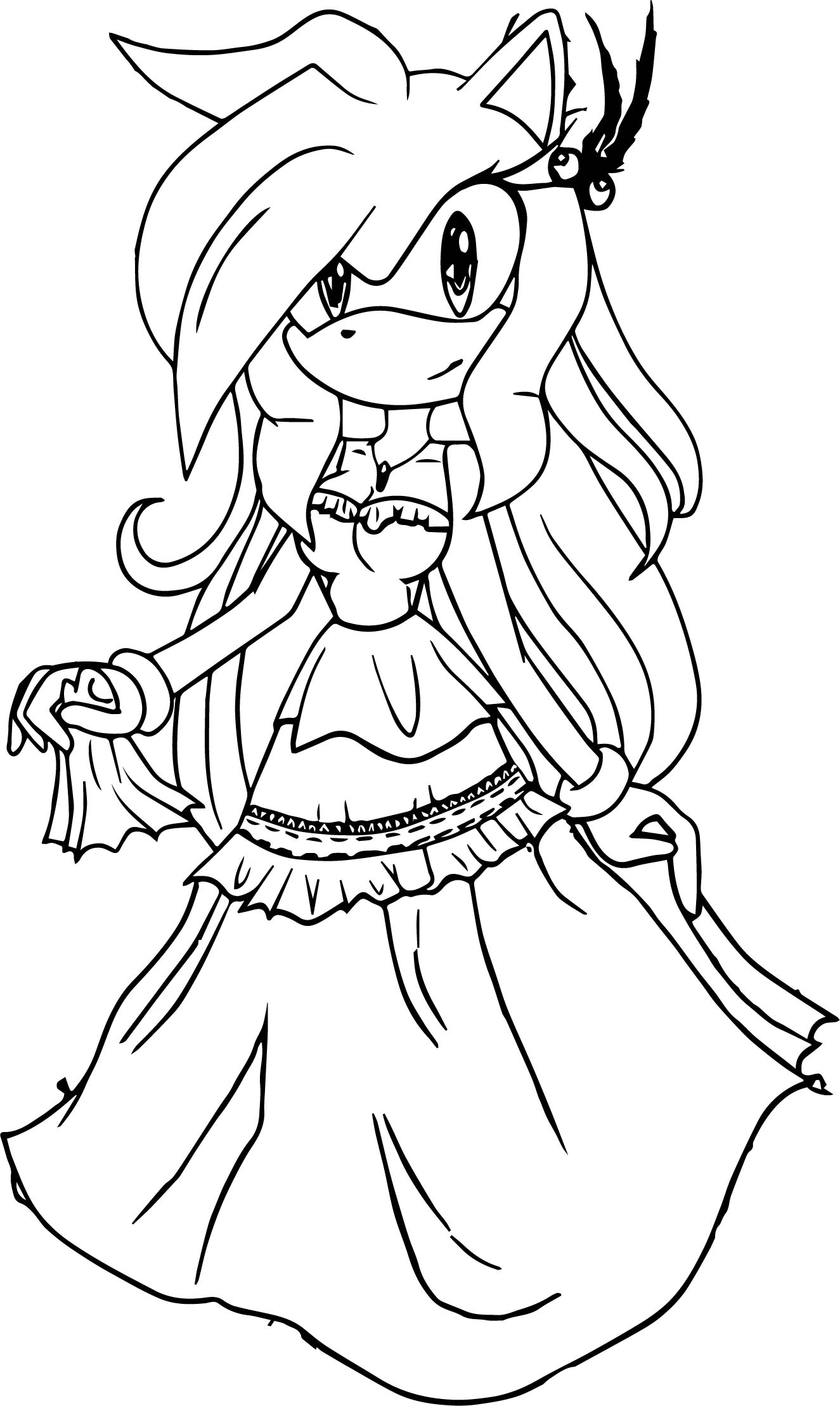 Fantastic Dress Amy Rose Coloring Page | Wecoloringpage.com