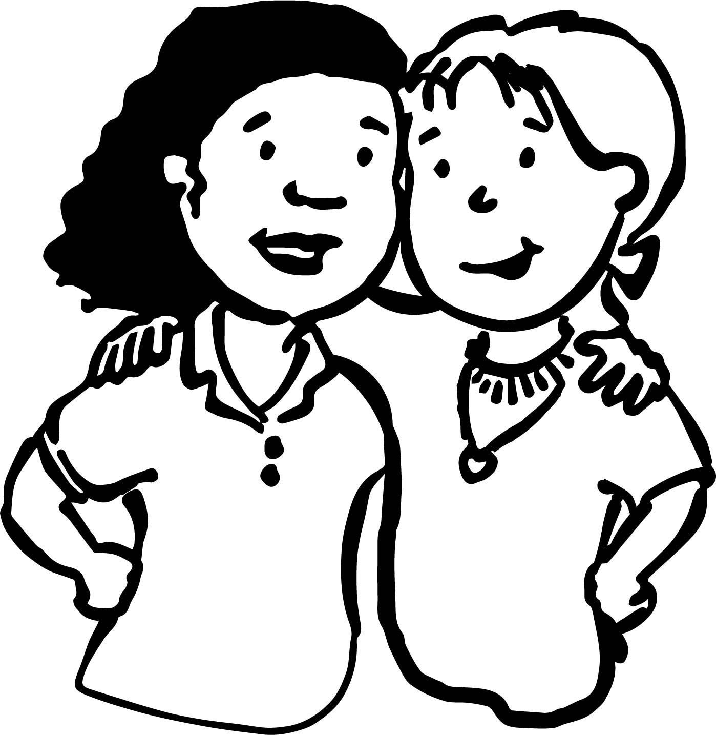 Fine Best Friends Girls Coloring Page