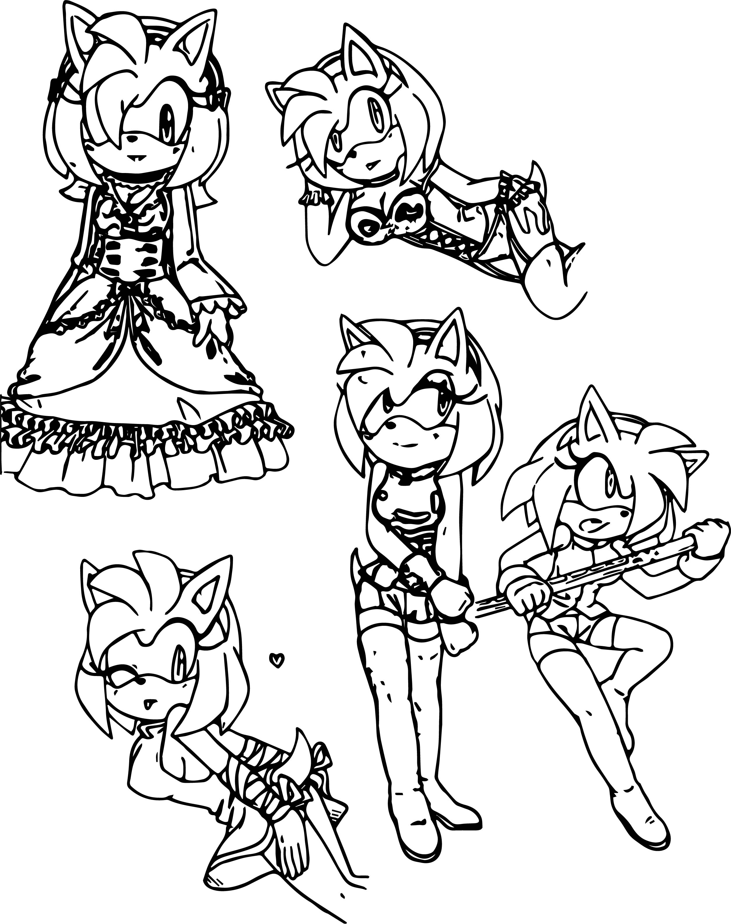 Five Amy Rose Coloring Page