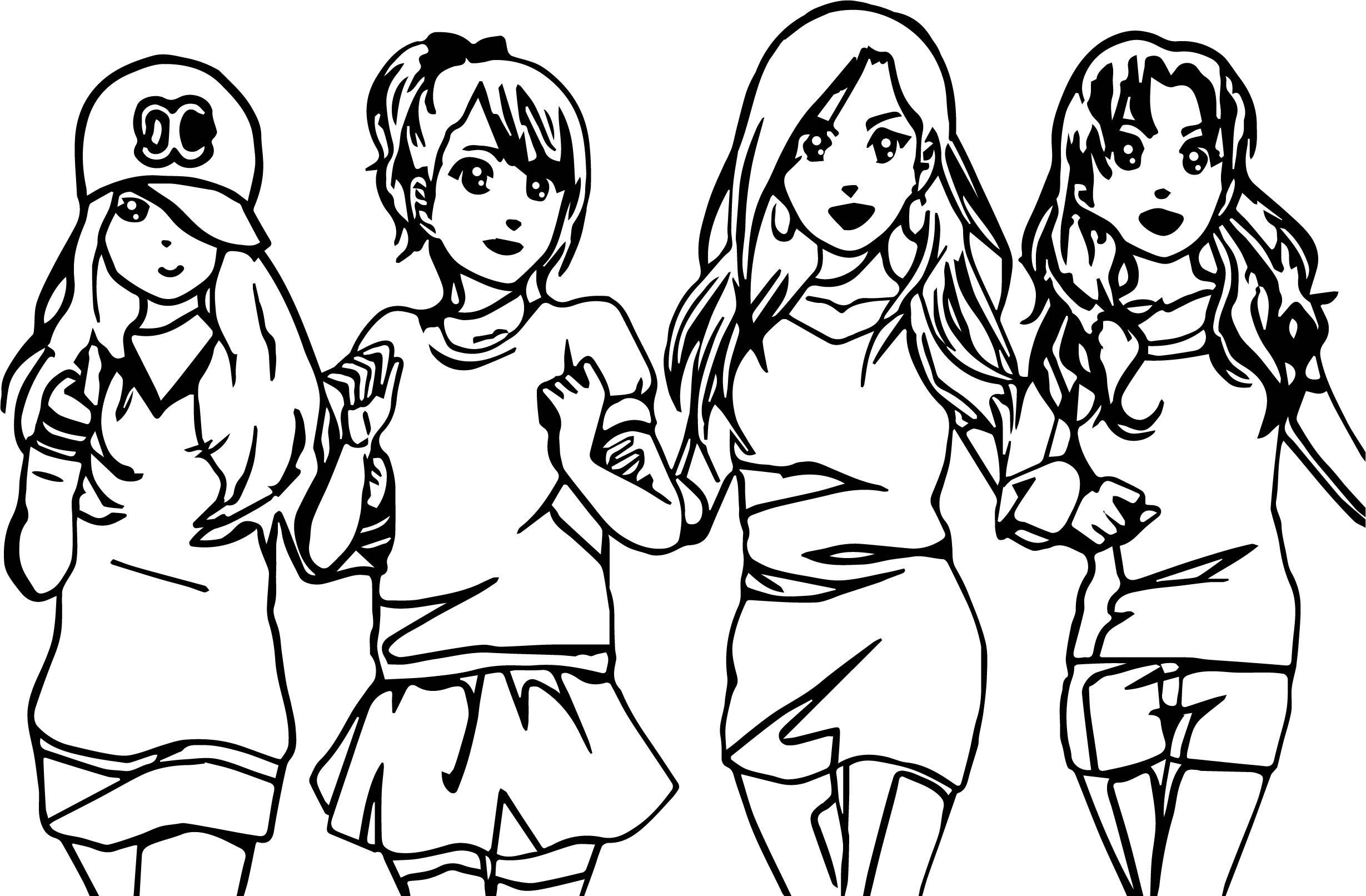 Four Anime Best Friends Forever Coloring Page