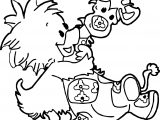 Giraffe And Duck Coloring Page
