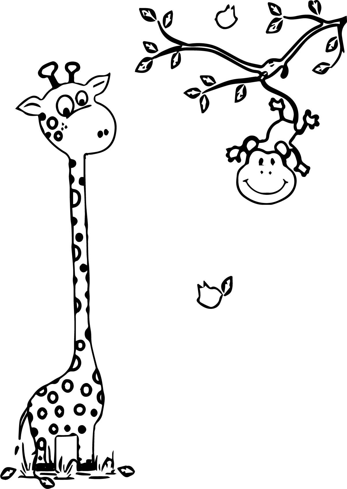 Giraffe And Monkey Coloring Page | Wecoloringpage