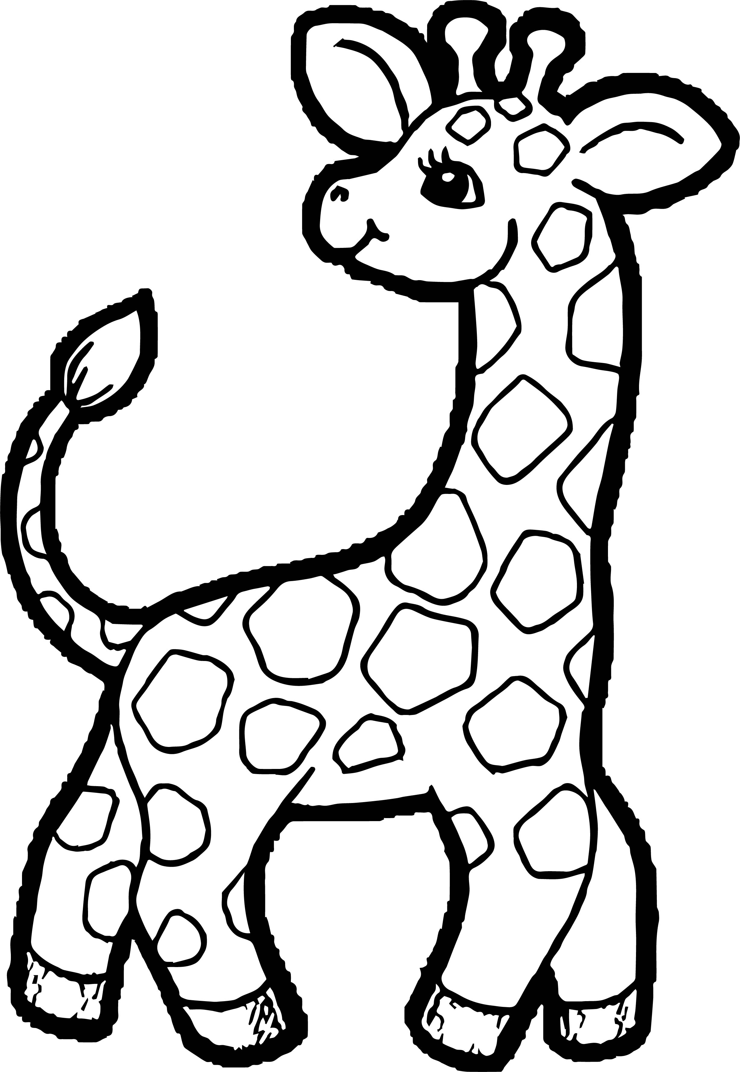Giraffe Back Look Kids Free Coloring Page