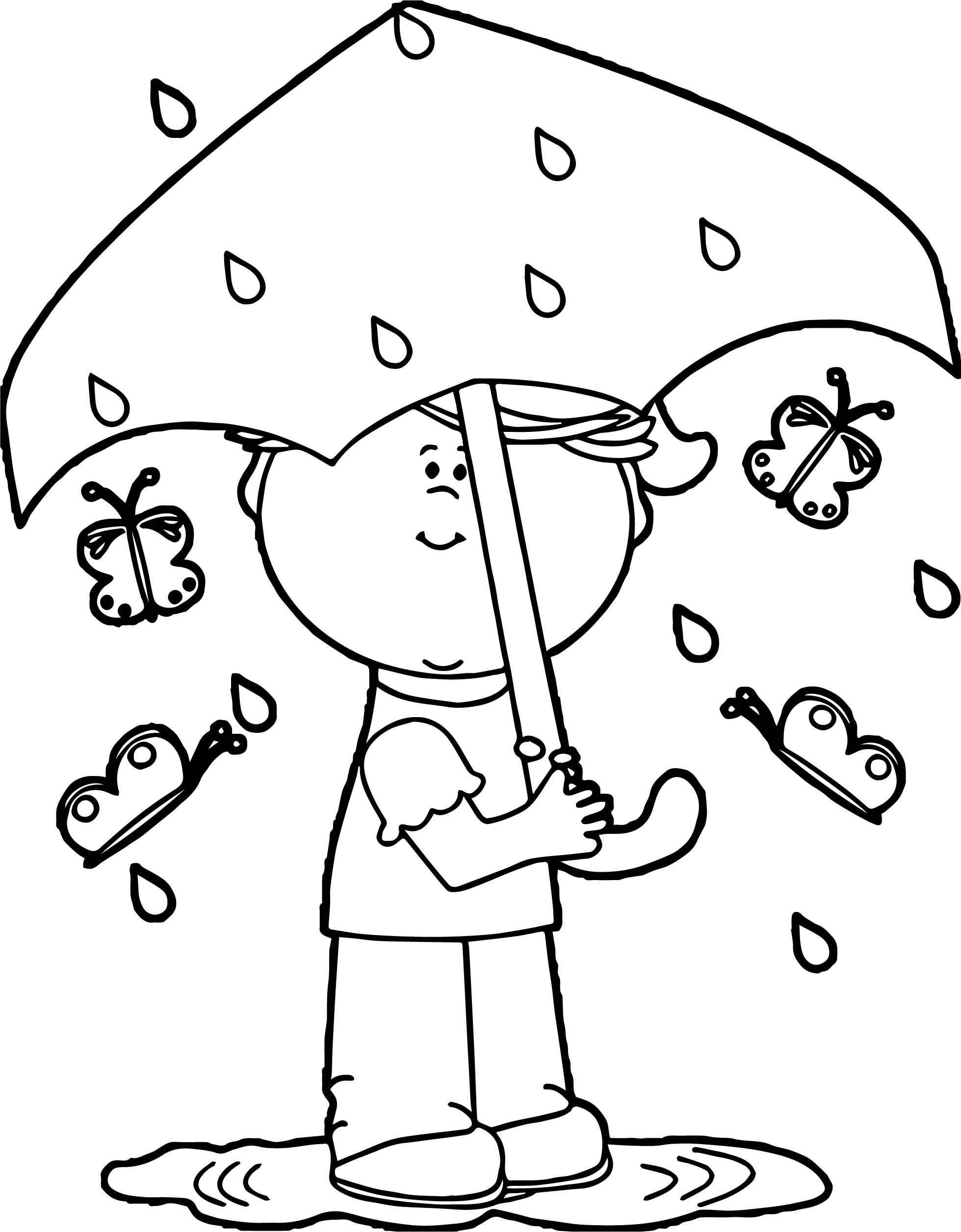 Girl In Spring Rain Coloring Page Wecoloringpage