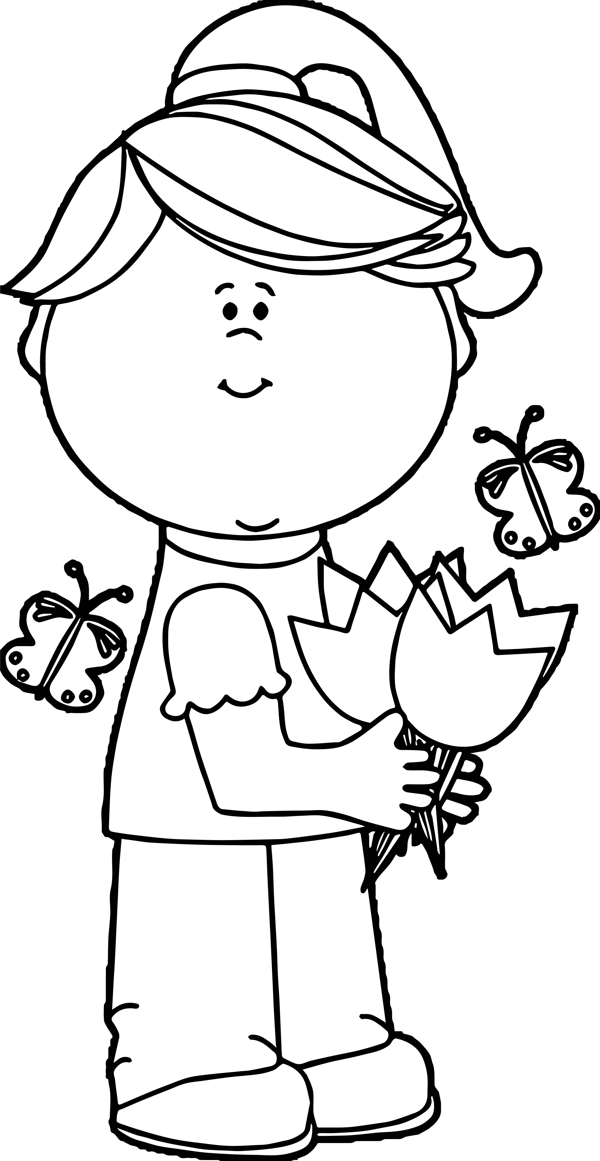 Girl With Spring Tulips Image Coloring Page