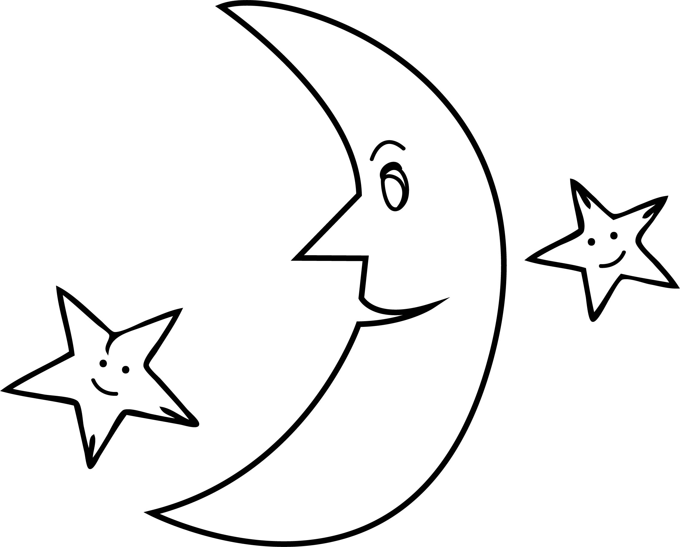 Half moon stars coloringpage for Moon and stars coloring pages