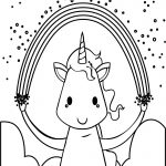 Happy Unicorn With Rainbow Coloring Page