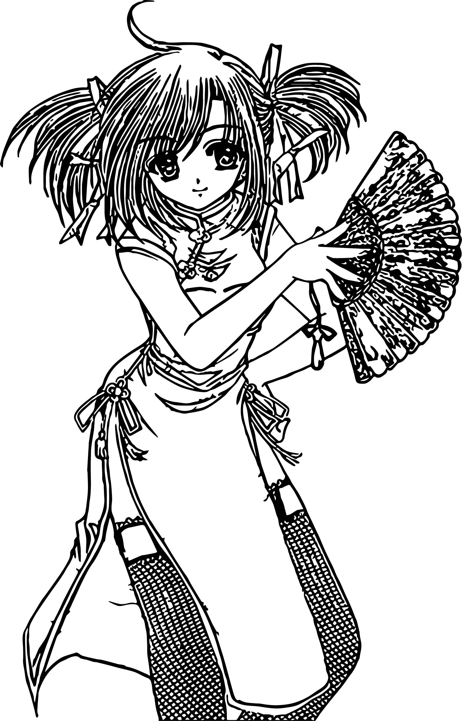 Japan Anime Girl Coloring Page