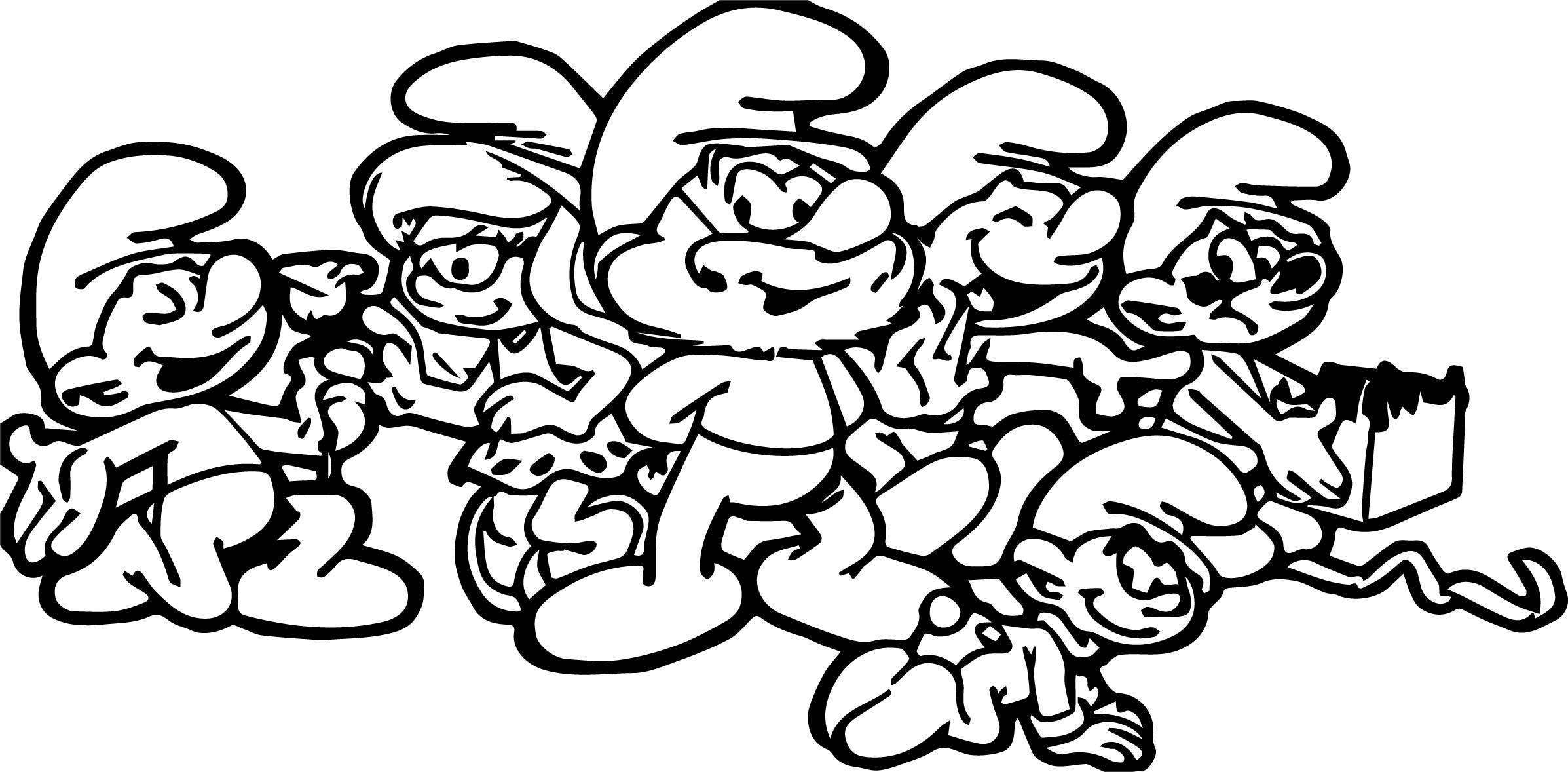 Last smurf family coloring page for Smurf house coloring pages