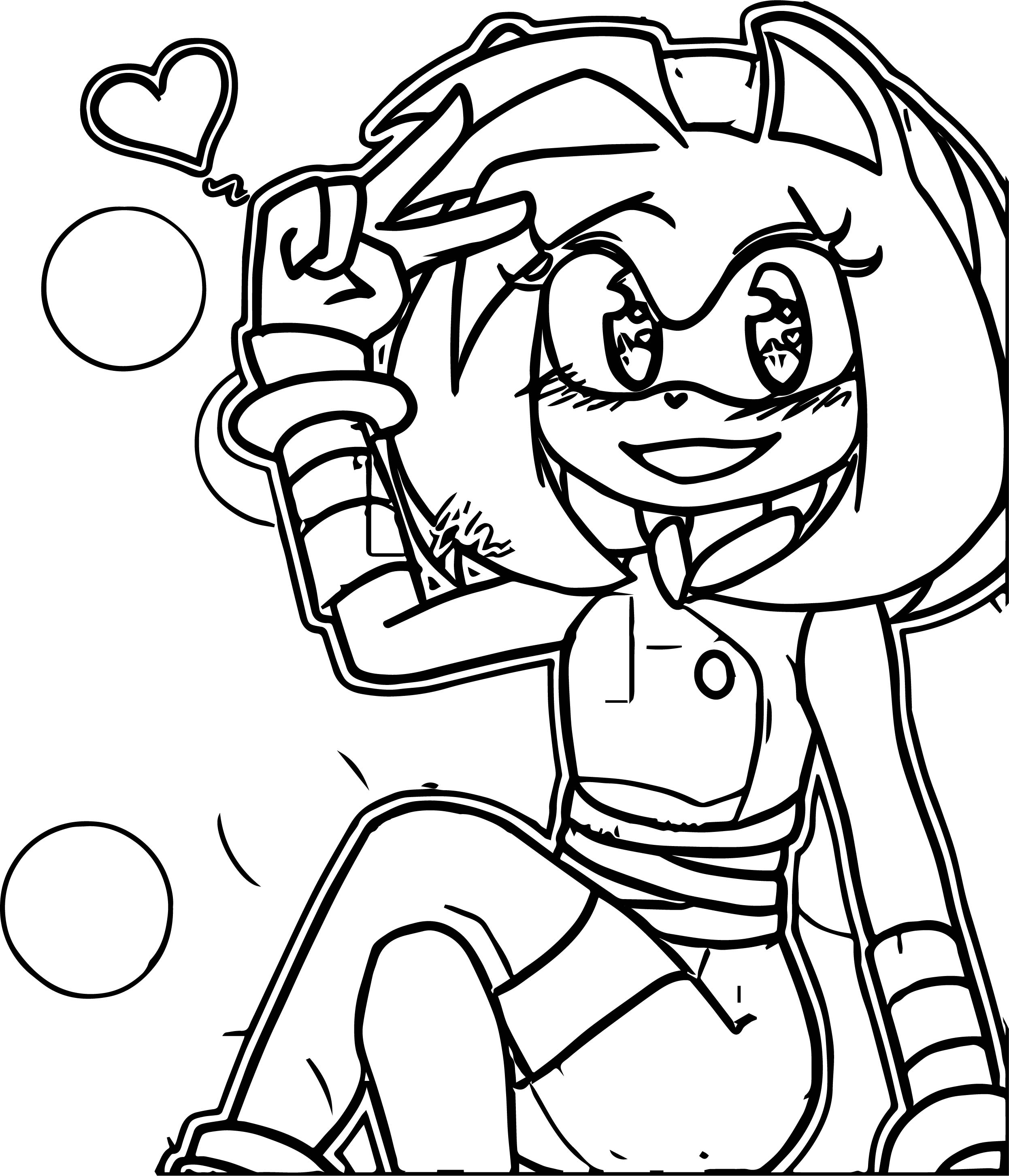 Lucky Amy Rose Coloring Page