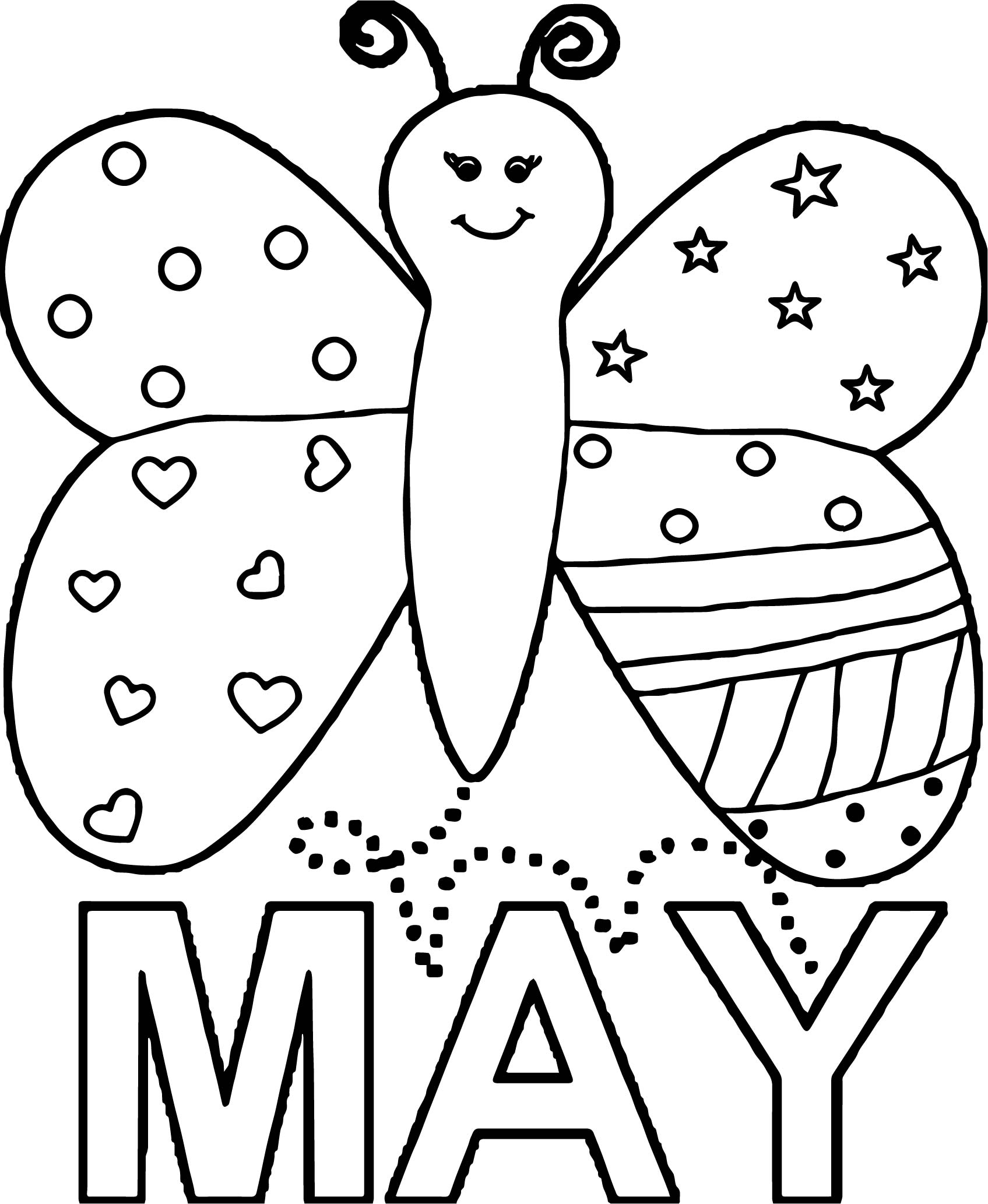 coloring pages for may - may butterfly beautiful coloring page