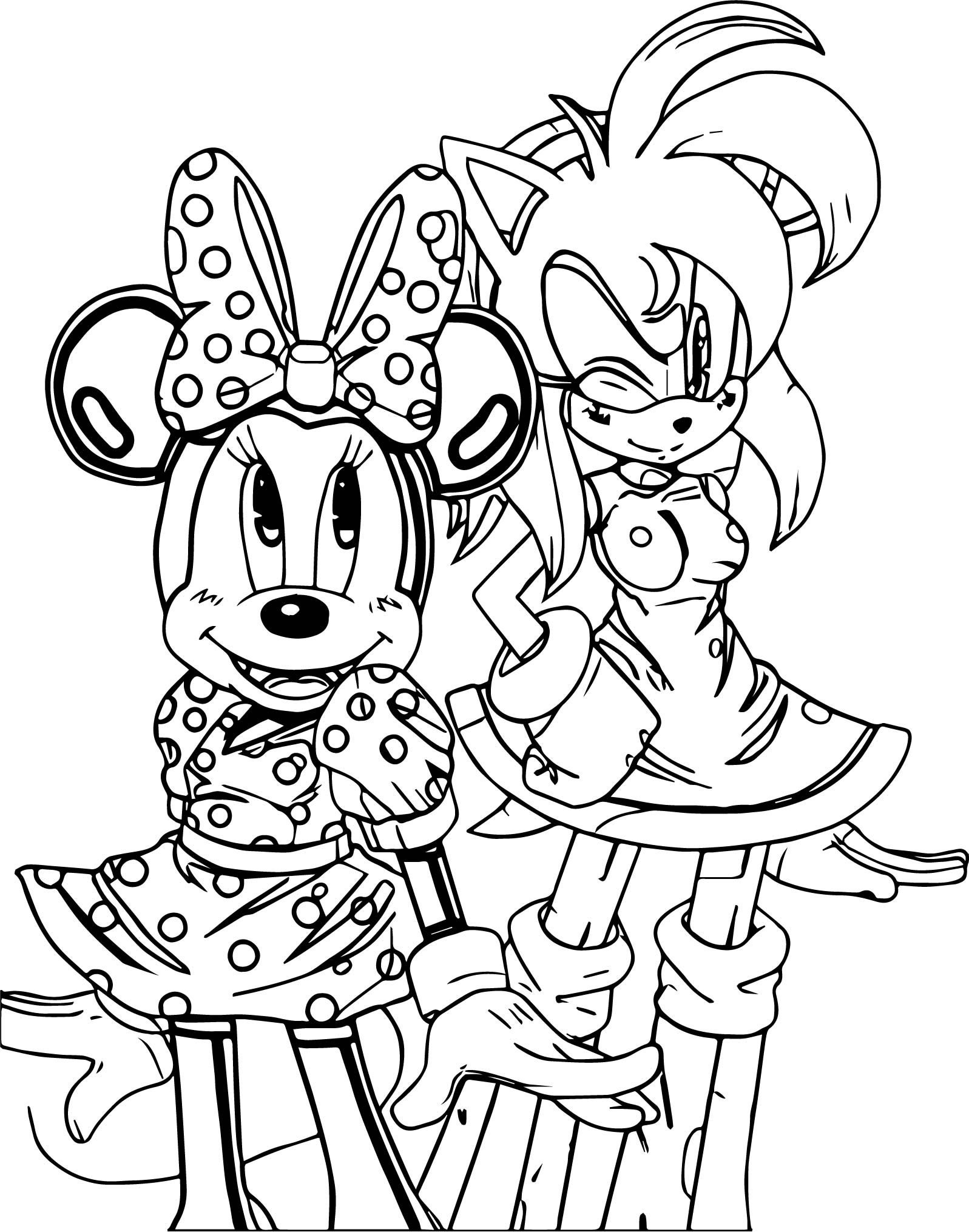 minnie mouse and amy rose coloring page wecoloringpage