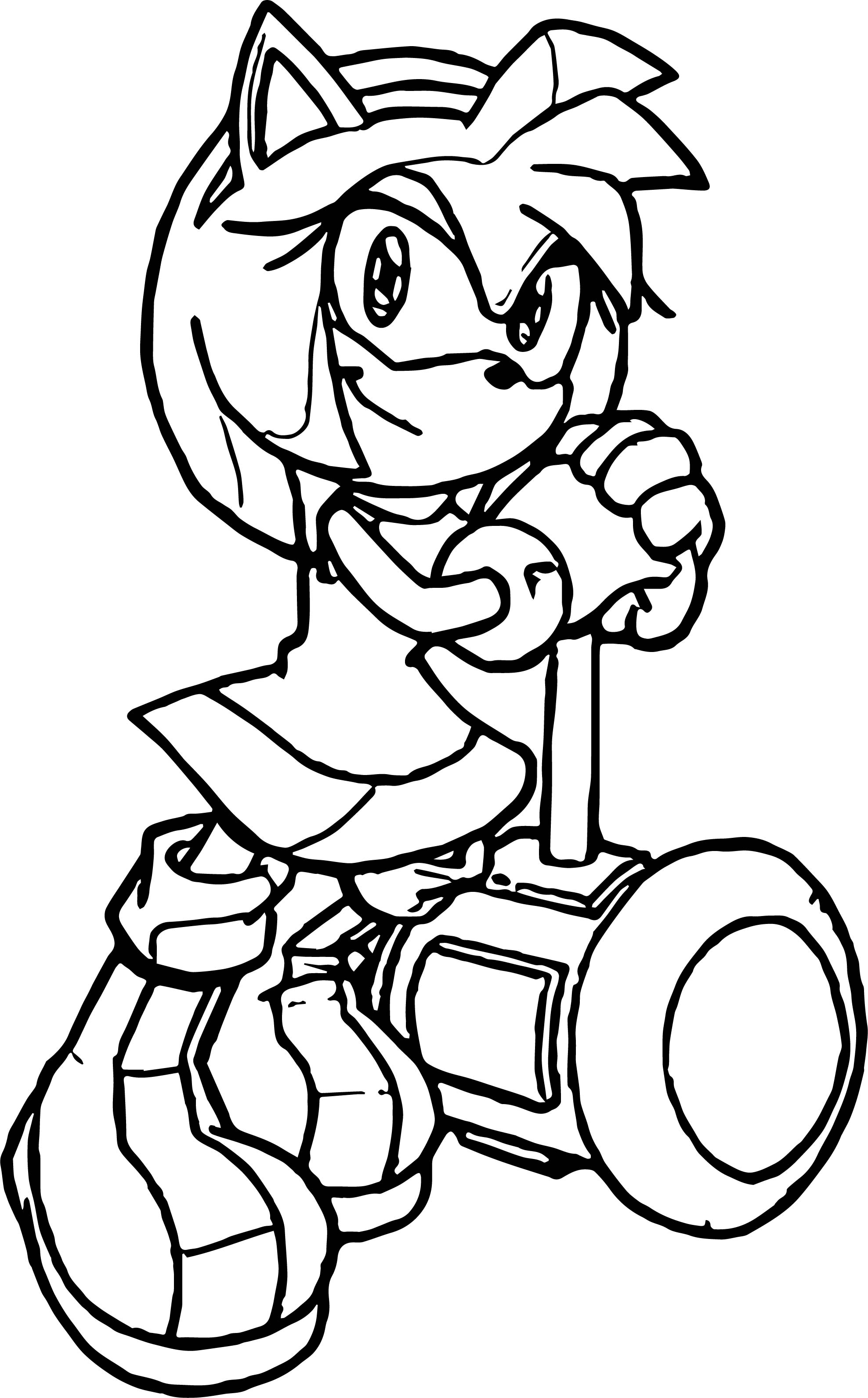 New Amy Rose Waiting Coloring Pages