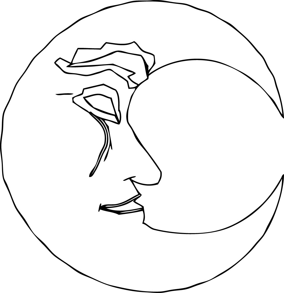 Old Moon Coloring Page