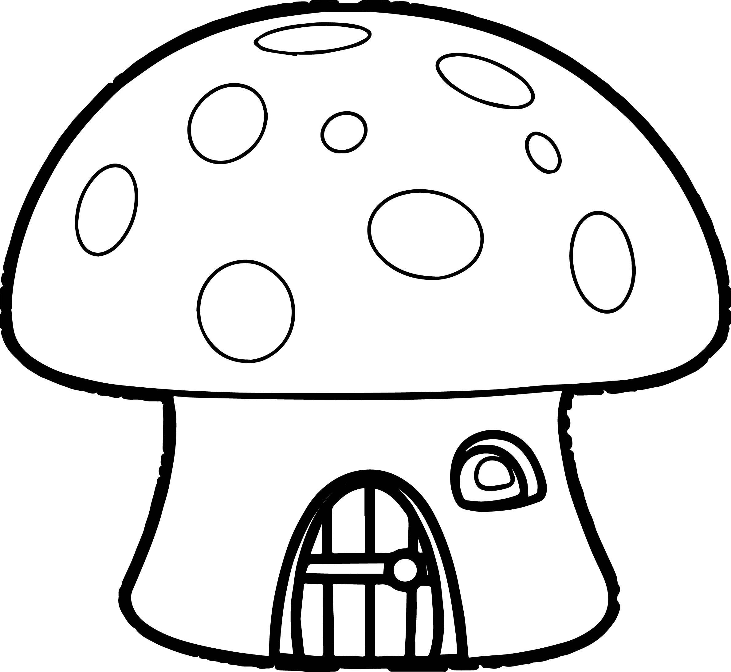 Orange Mushroom House Smurf Coloring Page